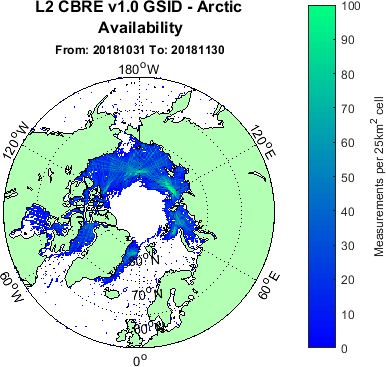 Arctic ice map generated using TDS-1 data between 31/10/2018 - 30/11/2019.