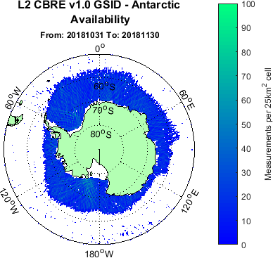 Antarctic ice map generated using TDS-1 data between 31/10/2018 - 30/11/2019.